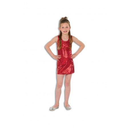 Robe Disco Rouge, Taille 4-6 Ans