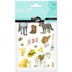 Planche de Stickers, Mini Stick Les Chevaux - Maildor