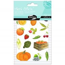 Planche de Stickers, Mini Stick Les Fruits et Légumes - Maildor