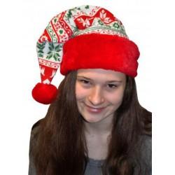 Bonnet de Noël Décoré Pompon Rouge