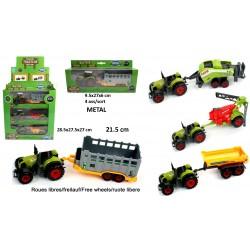 Tracteur avec Remorque 21,5cm Métal Roues Libres