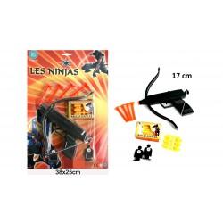 Arbalète Ninja 17cm Flèches et Balles souples