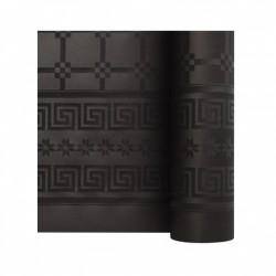 Nappe En Papier Damassé Noir En Rouleau 1,18 x 25 m