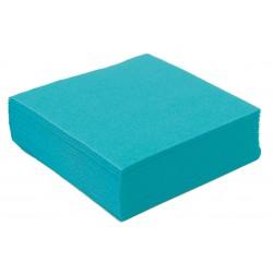 Serviette en Papier Cocktail Unie Bleu Turquoise