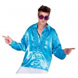 Déguisement Chemise Disco Satinée Bleue