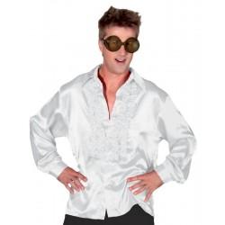 Déguisement Chemise Disco Satinée Blanche