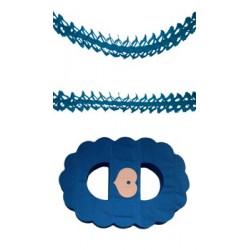 Guirlande Zinnia Bleu Turquoise Papier Ignifugé 4,50 Mètres