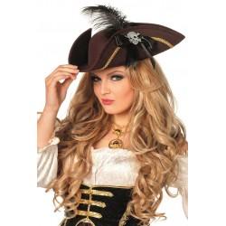 Chapeau Tricorne de Pirate Femme Noir avec Plume Rouge