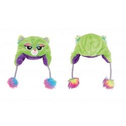 Bonnet Peluche Chat Vert et Violet