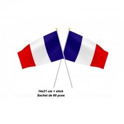 Drapeau France 14 x 21cm avec Bâton