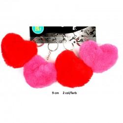 Porte clés Fourrure Coeur 9cm