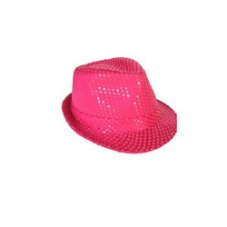 Chapeau Borsalino Paillettes Sequins Orange Fluo