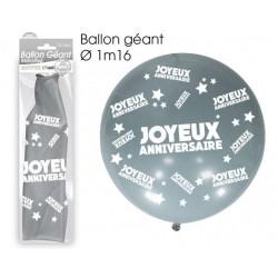 Ballon de Baudruche Géant Joyeux Anniversaire Argent