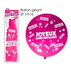 Ballon de Baudruche Géant Joyeux Anniversaire Rose Fuchsia