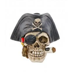 Crâne de Capitaine Pirate En Résine