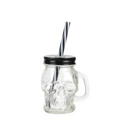 Mason Jar Tête De Mort 15cl Avec Couvercle et Paille