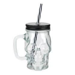 Mason Jar Tête De Mort 35cl Avec Couvercle et Paille