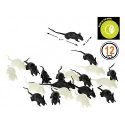 Souris Noires et Phosphorescentes 12 Pièces