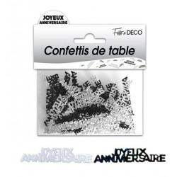 Confettis de Table Joyeux Anniversaire Noir / Blanc