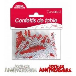 Confettis de Table Joyeux Anniversaire Rouge / Argent