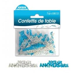Confettis de Table Joyeux Anniversaire Bleu / Argent