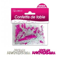 Confettis de Table Joyeux Anniversaire Rose fuschia/ Argent