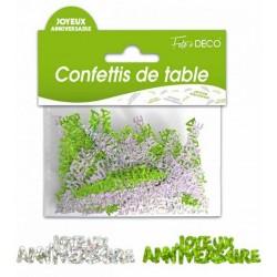 Confettis de Table Joyeux Anniversaire Vert / Argent