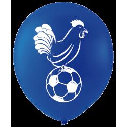 Ballons De Baudruche Coq et Ballon de Foot Bleu Blanc Rouge 12 Pièces
