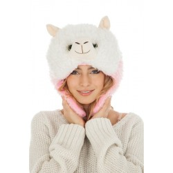 Bonnet Fourrure Lama Blanc