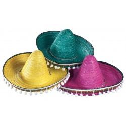 Chapeau Sombrero Mexicain en Paille 45cm avec Pompons