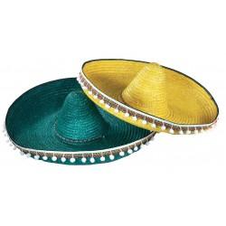 Chapeau Sombrero Mexicain en Paille 55cm avec Pompons