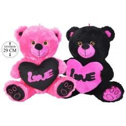 Peluche Ours Coeur Love Rose et Noir