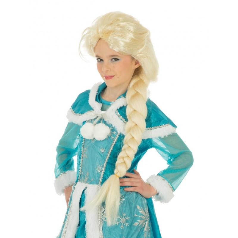 Perruque Enfant Blonde avec Natte La Reine des Glaces