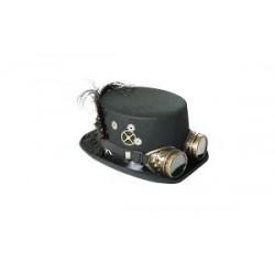 Chapeau Haut de Forme Steampunk Noir Avec Lunettes