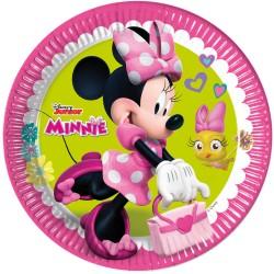 8 Assiettes Anniversaire  En Carton Minnie