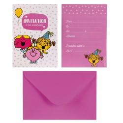 Cartes d'Invitation Anniversaire Monsieur Madame Fille avec Enveloppes 6 Pièces