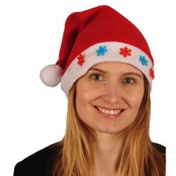 Bonnet de Noël en Feutrine 5 Flocons Rouge et Bleu Lumineux