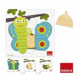 Puzzle 3 Niveaux Papillon - Goula