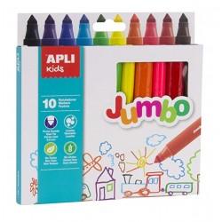 Feutres Jumbo Maxi Pointes 10 Pièces - Apli Kids