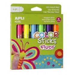 Tubes De Gouache Solide Couleurs Fluo 6 Crayons - Apli Kids 14404