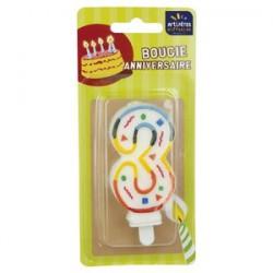 Bougie Multicolore Chiffre 3