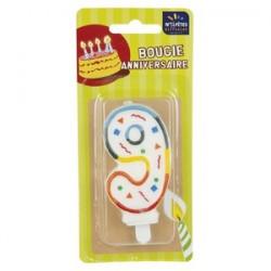 Bougie Multicolore Chiffre 9