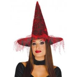 Chapeau de Sorcière Voile Rouge