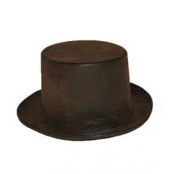Chapeau Haute Forme Aspect Cuir