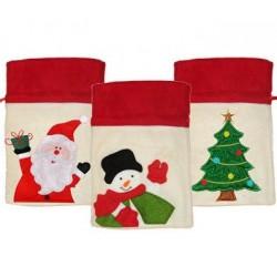 Sac de Noël en Feutrine décoré Père Noël, Bonhomme de Neige ou Sapin