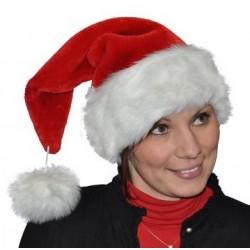 Bonnet de Noël en Peluche Epaisse avec Pompon Détaché