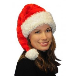 Bonnet de Noël Long Rayé en Velours