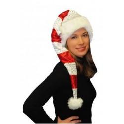 Bonnet de Noël Long Rayé et Pailleté en Velours