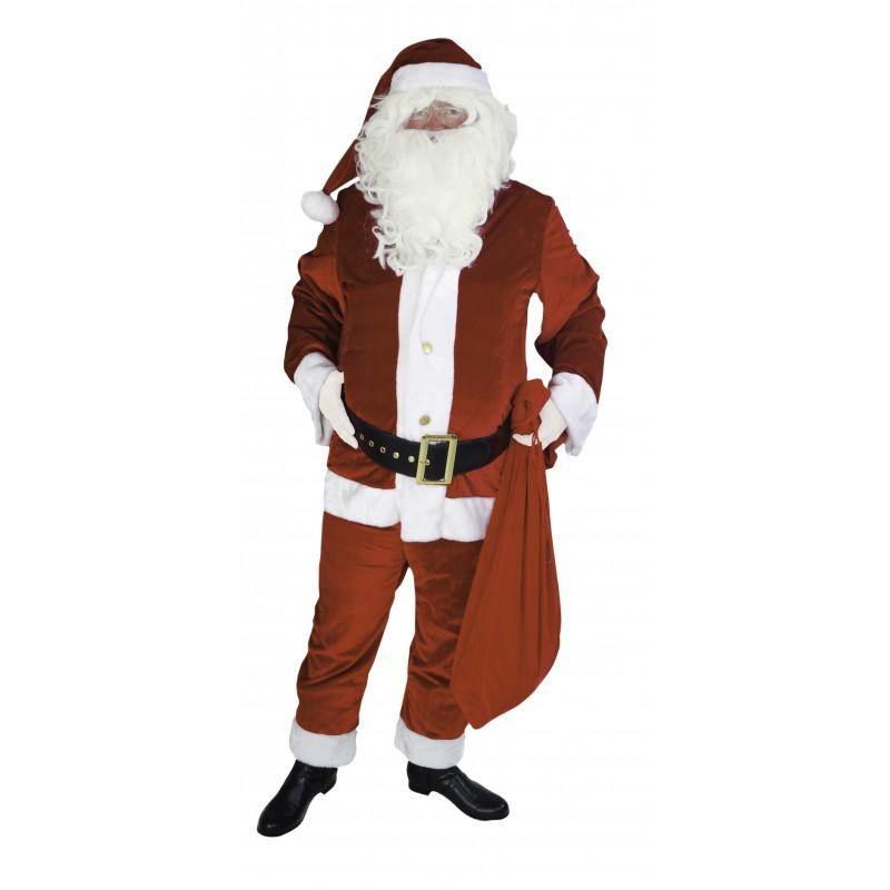 Costume de Père Noël Américain en Velours 4 Pièces