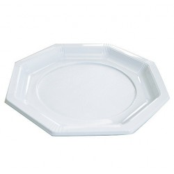 Assiette Octogonale en Plastique Blanc